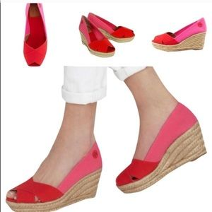 Tory Burch Filippa Espadrille Pink Wedges 6.5